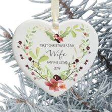First Christmas as My Wife Keepsake Ceramic Heart Tree Decoration - Floral Berries Heart Design